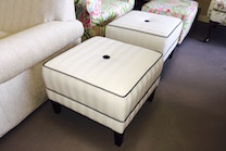 custom ottomans with button and contrsted welting