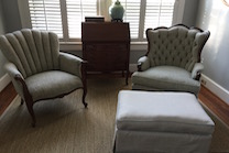 tufted back wing chair  and channel back chair