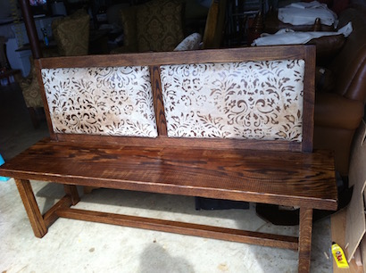 oak wood custom bench