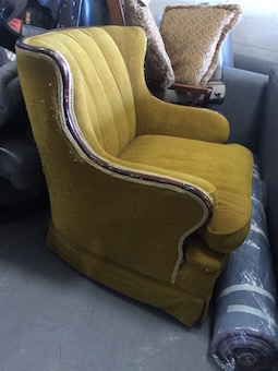 custom wing chair recovered