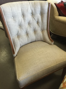 reupholstered tufted back chair