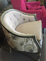 barrel tufted back chair